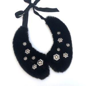 Zara jeweled faux fur collar accessory
